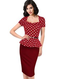 red-bodycon-dress-polka-dot-peplum-sash-dress