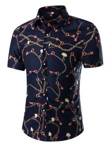 Camicia con stampa Multicolor manica corta cotone Chic camicia per gli uomini