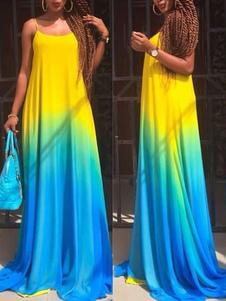 Image of Ombre Maxi abito cinghie abito estivo in cotone Multicolor