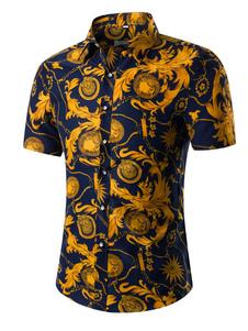 Camicia stampa floreale Multicolor manica corta camicia di cotone per gli uomini