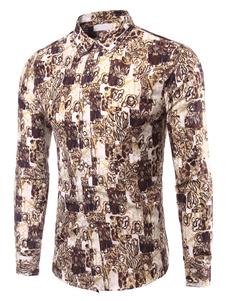Camicia alla moda stampa Multicolor cotone camicia Casual per gli uomini