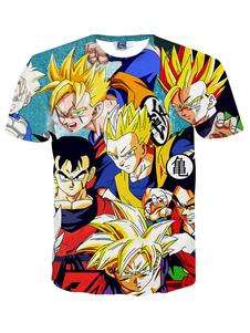 Multicolor caractère impression T-Shirt Cartoon Chic coton T-Shirt pour hommes Halloween