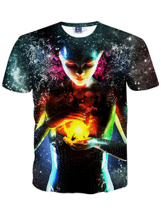 Image of T-shirt alla moda multicolor Cartoon cotone stampa t-shirt uomo