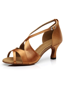 Danses latines brunes légères sandales Satin talons pour femmes