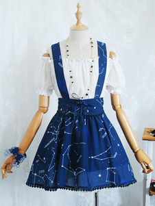 Image of Bretella Lolita gonna gonna di cotone blu con stampa