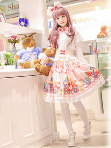 Image of Stampare Lolita gonna Multicolor moda gonna in Chiffon