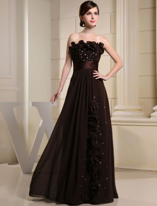 Parole longueur robe de soirée bretelles Sweetheart fleur perles robe de Prom mousseline de soie a-ligne