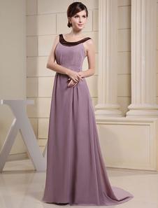Robe de soirée lavande Jewel décolleté élastique plissée mousseline Tribunal Train robe de mariée