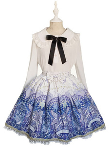 Image of Stampare Lolita gonna gonna in Chiffon blu