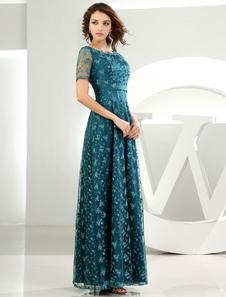 Abito di pizzo per la madre-of-the-sposa maniche verde scuro pavimento-lunghezza abito da sposa Party Dress