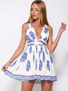 Floral Print Cotton Satin Print Flared Dress