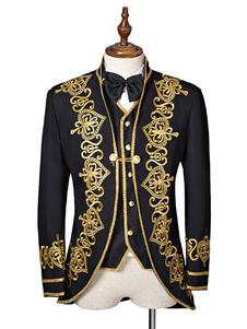 Image of Costume barocco nero cappotto uomo ricamato Corte uniforme panno Costume Carnevale