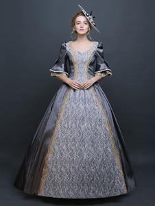 Halloween Costume Rétro Bleu Baroque Bell Robe Du Satin