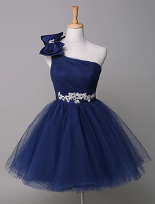 Image of One Shoulder Prom Dress Royal Blue Tulle Homecoming Dress Beadin