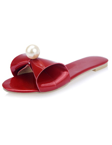 red-pearl-bow-pu-slippers-for-women
