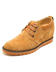 Image of Terra giallo scarpe in pelle scamosciata scarpe stringate in pelle per gli uomini