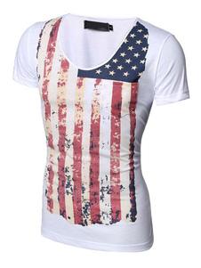 Image of T-shirt bianca bandiera stampa Slim Fit cotone t-shirt uomo