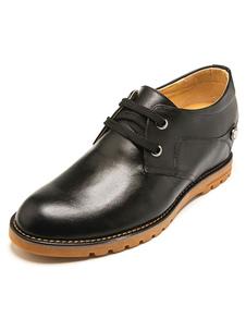 Cordón de zapatos cuero negro zapatos de cuero de moda para hombres