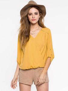 Amarillo V profundo superior acanalada de gran tamaño blusa de poliéster para mujer