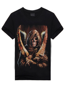 Image of Nero teschio demone stampa t-shirt manica corta cotone t-shirt p
