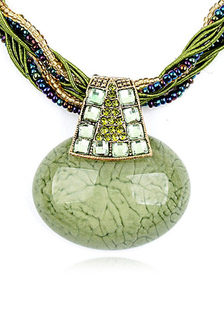 Green Pendant Rhinestone Metal Necklace for Women