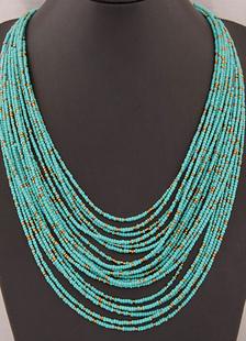 Azul capas collar en niveles de Metal plástico para las mujeres