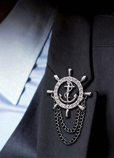 Broche de cadena de timón de metal broche de diamantes de imitación para las mujeres