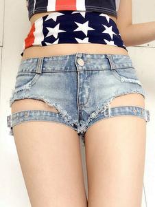 Distressed Denim Short avec boucle