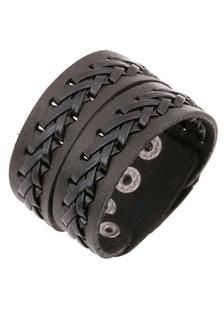 Image of Black Stud ecopelle braccialetto in maglia per gli uomini