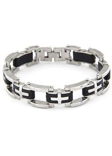 Image of Bracciale Croce di stampa catena bracciale in metallo Link per gli uomini