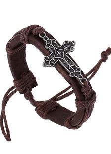 Image of Brown Croce braccialetto di cuoio del Faux per gli uomini