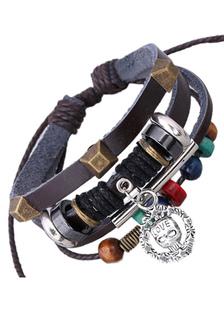 Image of Ecopelle con perline multicolor a strati del braccialetto per gl