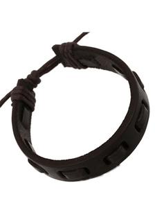 Image of Nero a maglia alla moda in ecopelle del braccialetto per gli uomini