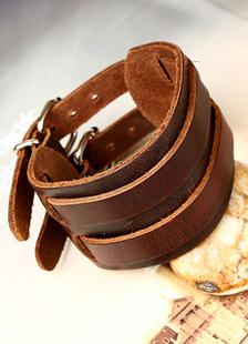 Image of Cuoio del Faux del braccialetto marrone fibbia per gli uomini