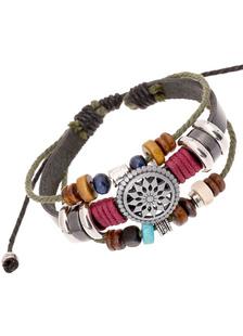 Image of Braccialetto di perline multicolor ecopelle metallo braccialetto di strati per gli uomini