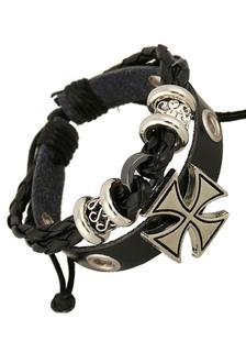 Image of Bracciale Croce multicolor tagliata fuori il braccialetto di cuoio del Faux per gli uomini