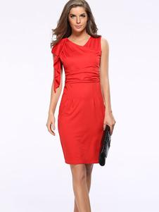 Image of Rosso vestito aderente asimmetrica volant vestito longuette poliestere