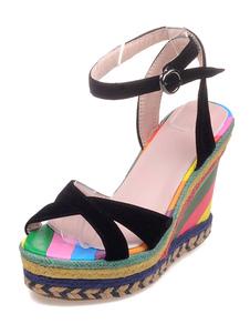 Sandalo con zeppa multicolor stampa Terry sandali per le donne