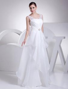 Image of Abito con scollo a v Sash strass abito plissettato piano lunghezza nuziale abito da sposa
