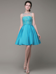 -Vestido de noche de baile vestido de encaje joya tafetán plisado rodilla vestido  Milanoo
