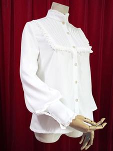 Image of Collo alto Lolita camicetta maniche lunghe con volant