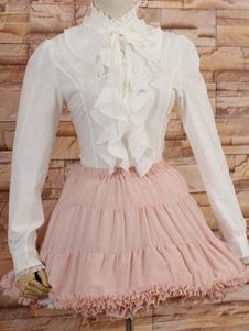 Image of Collo alto bianco Lolita camicetta maniche lunghe con volant