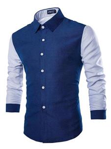 Image of Blu marino scuro camicia maniche lunghe cotone camicia Casual per gli uomini