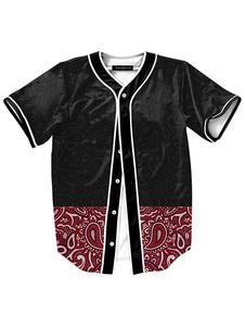 Image of Nero manica corta camicia di cotone stampa camicia Casual per gl