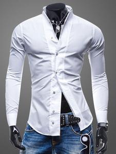 Camiseta casual de hombre 2018 blanca manga larga cuello vuelto botón frontal de algodón