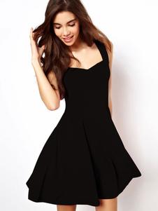 Image of Abito corto da donna corto abito senza maniche nero abito da donna