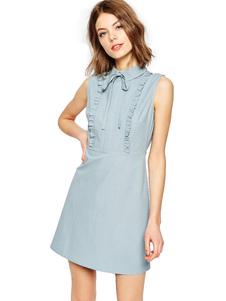 Arco volantes vestido corto vestido de verano ajuste delgado