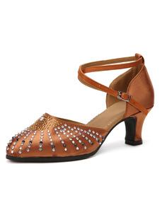 Image of Luce marrone morbido suola mandorla Toe Satin sala da ballo scarpe