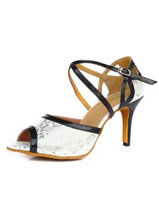Image of Bianco cinturino regolabile PU pelle sala da ballo scarpe scarpe