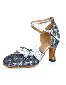 Image of Blu profondo caviglia cinturino mandorla Toe tessuto paillettes scarpe da ballo